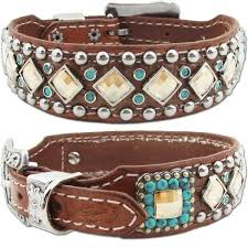 western leather dog collar turquoise