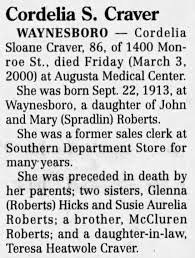 Cordelia Sloane (Roberts) Craver Obituary.1 - Newspapers.com