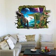 Amazon Com Wall Art Mural 3d Dinosaur Easy Stick And Peel Wall Stickers Removable Wall Decor Decals Dinosaur For Kids Boys Girls 23 6 X 35 4 Inch Kitchen Dining