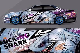 Car Side Full Color Graphics Vinyl Sticker Custom Body Decal Shark Attack Ebay