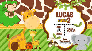 Tarjeta Invitacion Cumpleanos Digital Safari Jungla Animales