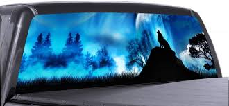 Amazon Com Vuscapes Lone Wolf Howl Lee831 Rear Window Truck Graphics Decal Suv View Thru Vinyl Automotive