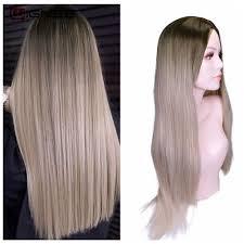شعر مستعار اصطناعي طويل مستقيم من واجني الجزء الأوسط شعر مستعار