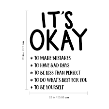 Vinyl Wall Art Decal It S Okay To Make Motivational Life Quote 30 X 22 736373548770 Ebay