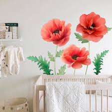 Poppies Printed Wall Decal Poppies Decal Flower Wall Etsy