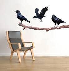 Crows On A Branch Wall Sticker Decal Raven Art Black Birds Decor Tree American Wall Designs