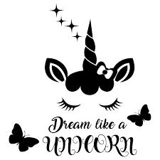 Amazon Com Quote Dream Like A Unicorn Butterfly Decal Sleep Face Unicorn Wall Decals Pony Wall Art Nursery Magic Decor Horse Vinyl Sticker Lettering For Girls Bedroom Nl167 Handmade