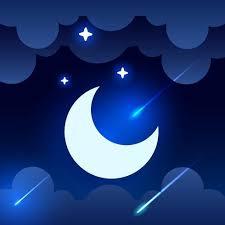 Mystisk Natthimmelbakgrund med halvmåne, moln och stjärnor ...