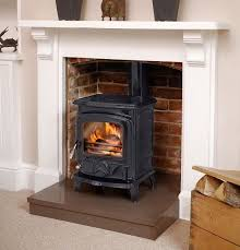 gas stove inside fireplace with exposed