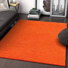 Solid Retro Modern Orange Shag 5x7 5 X 7 2 Area Rug Plain Plush Easy Care Thick Soft Plush Living Room Kids Bedro Area Rug Dining Room Rugs Retro Modern