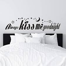 Amazon Com Vodoe Wall Decals For Bedroom Wall Decals For Women Quotes Couple Marriage Love Girly Girl Room Home Bed Husband And Wife Room Art Decor Vinyl Stickers Always Kiss Me Goodnight Black