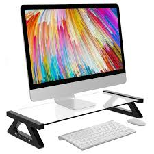 pc monitor laptop stand tempered glass