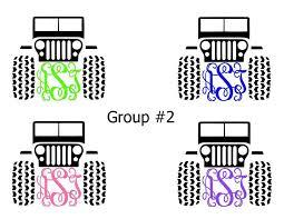 Jeep 2017 Monogram Initials Custom Jeep Vinyl Diecut Decal Car Wndw Laptop More Free Sh Girls Drive Jeeps Too Car Picture Galleries