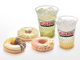 kripy kreme doughnuts and two drinks