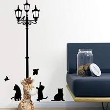 Amazon Com Wall Sticker Leegor Cats Street Lamp Lights Stickers Wall Decal Removable Art Vinyl Decor Home Kitchen