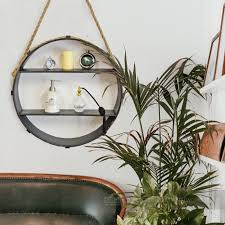 rope hanging circular shelf black