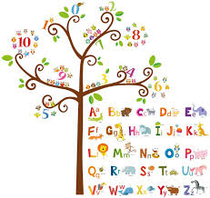Amazon Com Decowall Da 1503 Animal Alphabet Abc And Owl Numbers Tree Kids Wall Stickers Wall Decals Peel And Stick Removable Wall Stickers For Kids Nursery Bedroom Living Room Decor Kitchen Dining