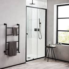 noir 1200mm matt black sliding shower