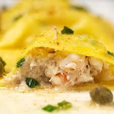 seafood ravioli with brown er caper