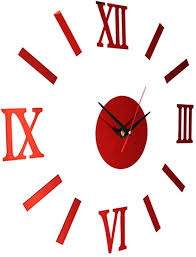 Amazon Com Gsdviyh36 Diy 3d Analog Wall Hanging Clock Sticker Living Room Office Decal Decoration Easy To Read Not Easy To Broken Punctual Timing Red Home Kitchen