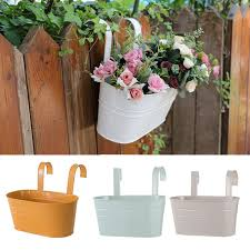 Oval Metal Plant Flower Pot Fence Balcony Garden Hanging Planter Pots Decors 3 31 Picclick Uk