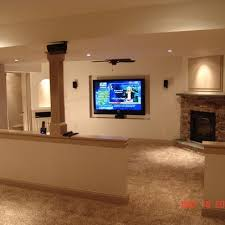 basement corner fireplace ideas