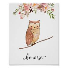 Owl Nursery Wall Art Baby Floral Quote Woodland Zazzle Com