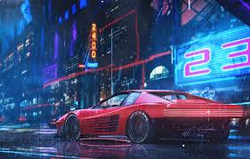 auto neon machine rain style car