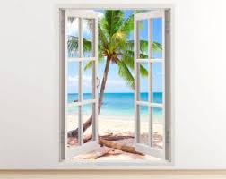 Tropical Caribbean Beach Wall Decal Vertical 3d Window Etsy