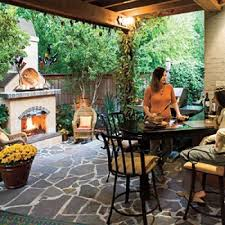 glowing outdoor fireplace ideas small