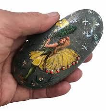 hand painted rocks vintage fairy art