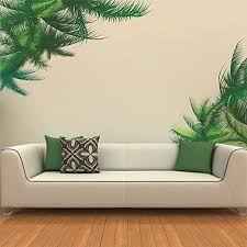 Amazon Com Uutag Green Leaves Palm Tree Wall Decals Peel And Stick Removable Wall Stickers Home Art Decor Mural Wallpaper For Home Office Living Room Bedroom Home Kitchen