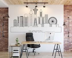 Seattle Skyline City Skyline Cityscape Seattle Art Wall Etsy In 2020 City Skyline Wall Decor Decals Home Decor