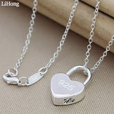 necklace silver lock pendant necklace