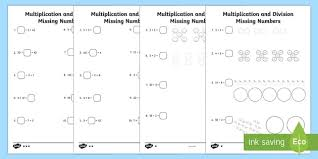 missing numbers multiplication and