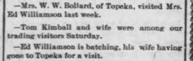 Mrs W.W. Bollard is Ida Williamson, sister to Sam Ed Williamson. The wife  is Hattie Bauman. - Newspapers.com