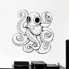 Submarine Wall Decal Diving Helmet Tentacles Octopus Marine Ocean Animal Vinyl Wall Stickers Kids Room Bathroom Home Decor E806 Wall Stickers Aliexpress