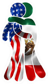 American Flag And Mexican Flag Hugging Decal Sticker 06