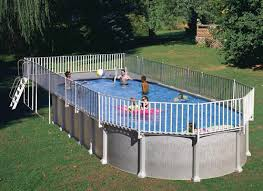 18ft X 33ft Oval Above Ground Pool End Deck And Fence Only Best Above Ground Pools