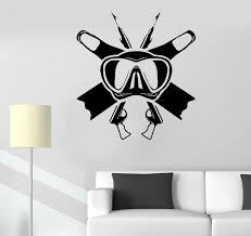 Wall Decal Underwater Fishing Equipment Scuba Diving Sea Vinyl Sticker Wallstickers4you