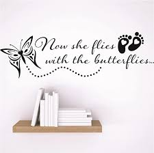 Amazon Com Decor Wall Decal Sticker Now She Flies With The Butterflies Footprint Butterfly Design Memorial Remembrance Memory Quote Color Black Size 6x30 Home Kitchen