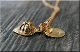 gold firefighter helmet charm necklace
