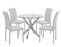 sleek round glass dining table set 4