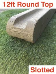 G G 12ft 3600mm Premium Concrete Slotted Post Round Top