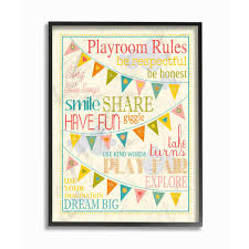 The Stupell Home Decor Collection 11 In X 14 In Playroom Rules With Pennants In Pink By Karen Zukowski Finny And Zook Wood Framed Wall Art Brp 1614 Fr 11x14 The Home Depot