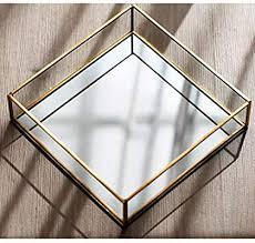 vintage gold mirror glass vanity tray