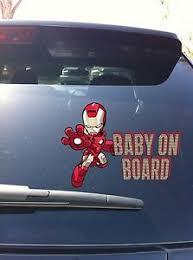 20 07 Iron Man Cartoon Baby On Board Decal Sticker Ebay