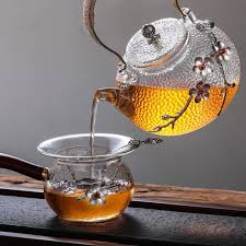 high borosilicate clear glass tea pot