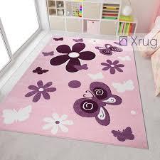 Butterfly Pink Violet Childrens Girl Bedroom Playroom Carpets Kids Play Rug Mat