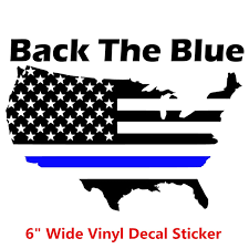 6 Wide Back The Blue Flag Map Usa Thin Blue Line Support American Police Vinyl Decal Window Bumper Sticker Wish
